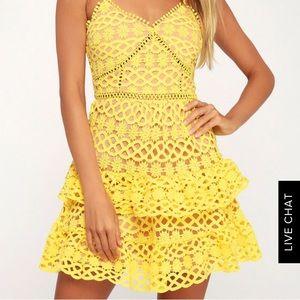 Lulus Beauty and Lace Yellow Dress - size small